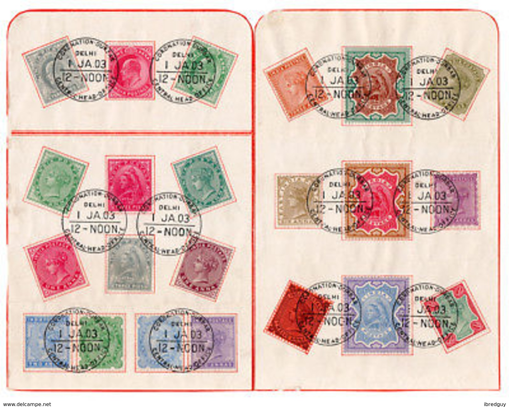 (I.B) India Postal : Coronation Durbar Presentation Sheets (Dehli 1903) - India (...-1947)