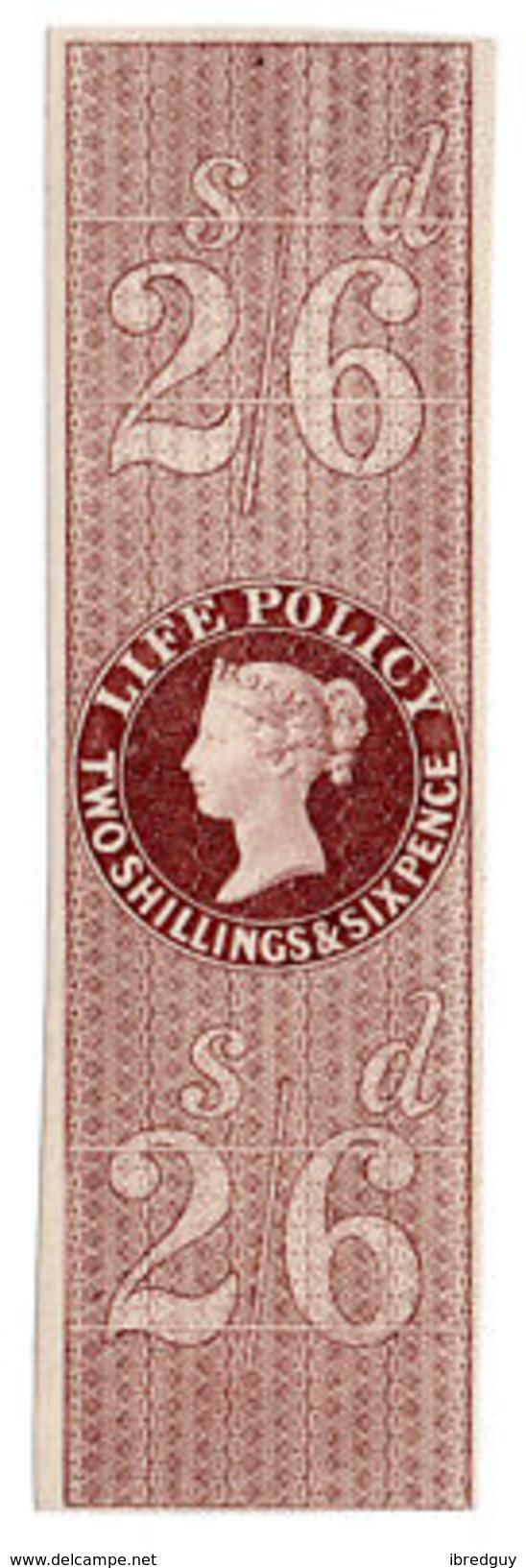 (I.B) QV Revenue : Life Policy 2/6d (1854) - 1840-1901 (Victoria)