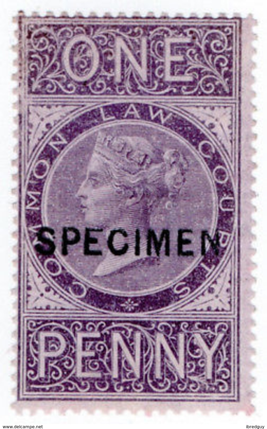(I.B) QV Revenue : Common Law Courts 1d (specimen) - 1840-1901 (Victoria)