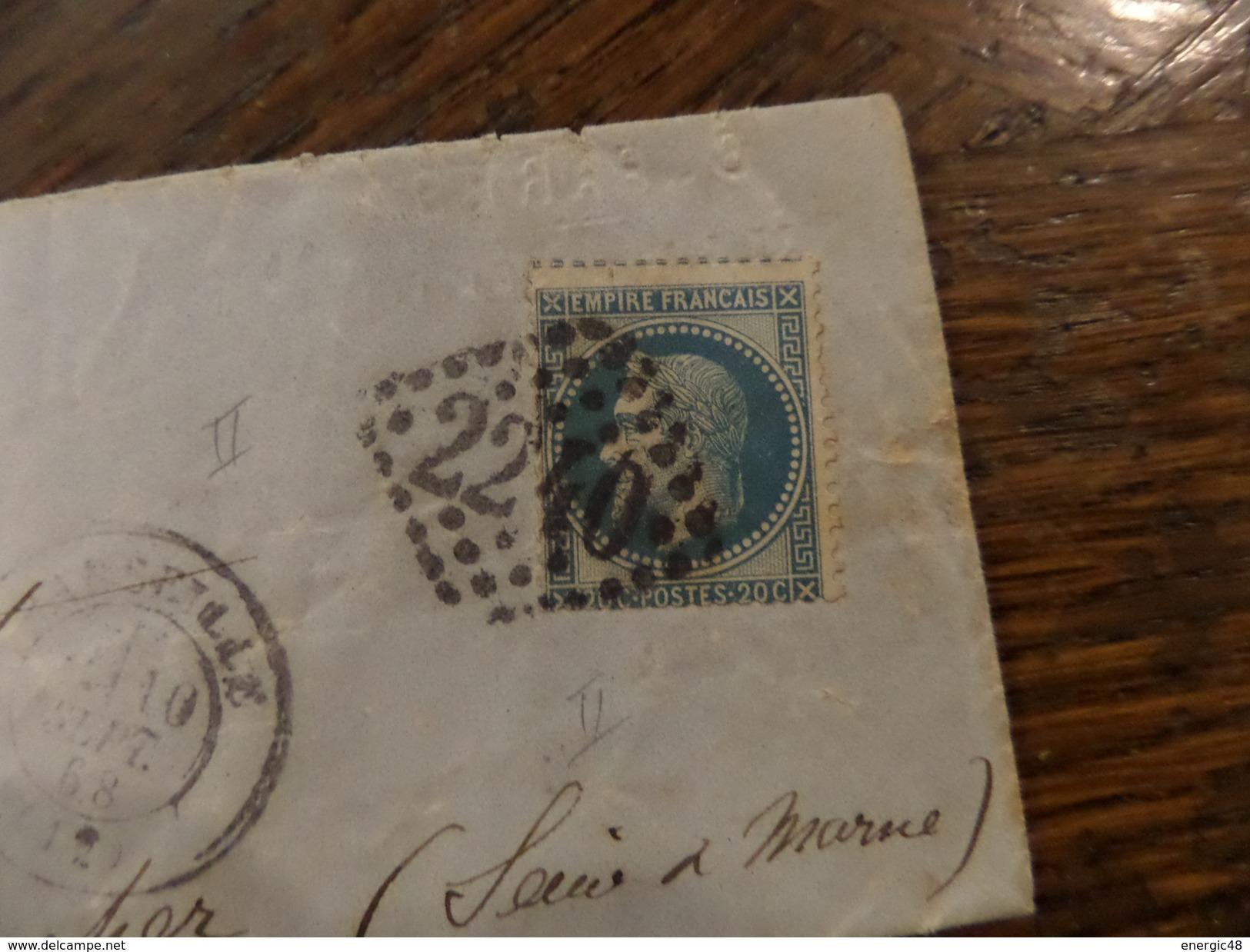 28-29.11.17-LAC   De Marseille Sur N°29,  A Voir!! - 1863-1870 Napoléon III Lauré