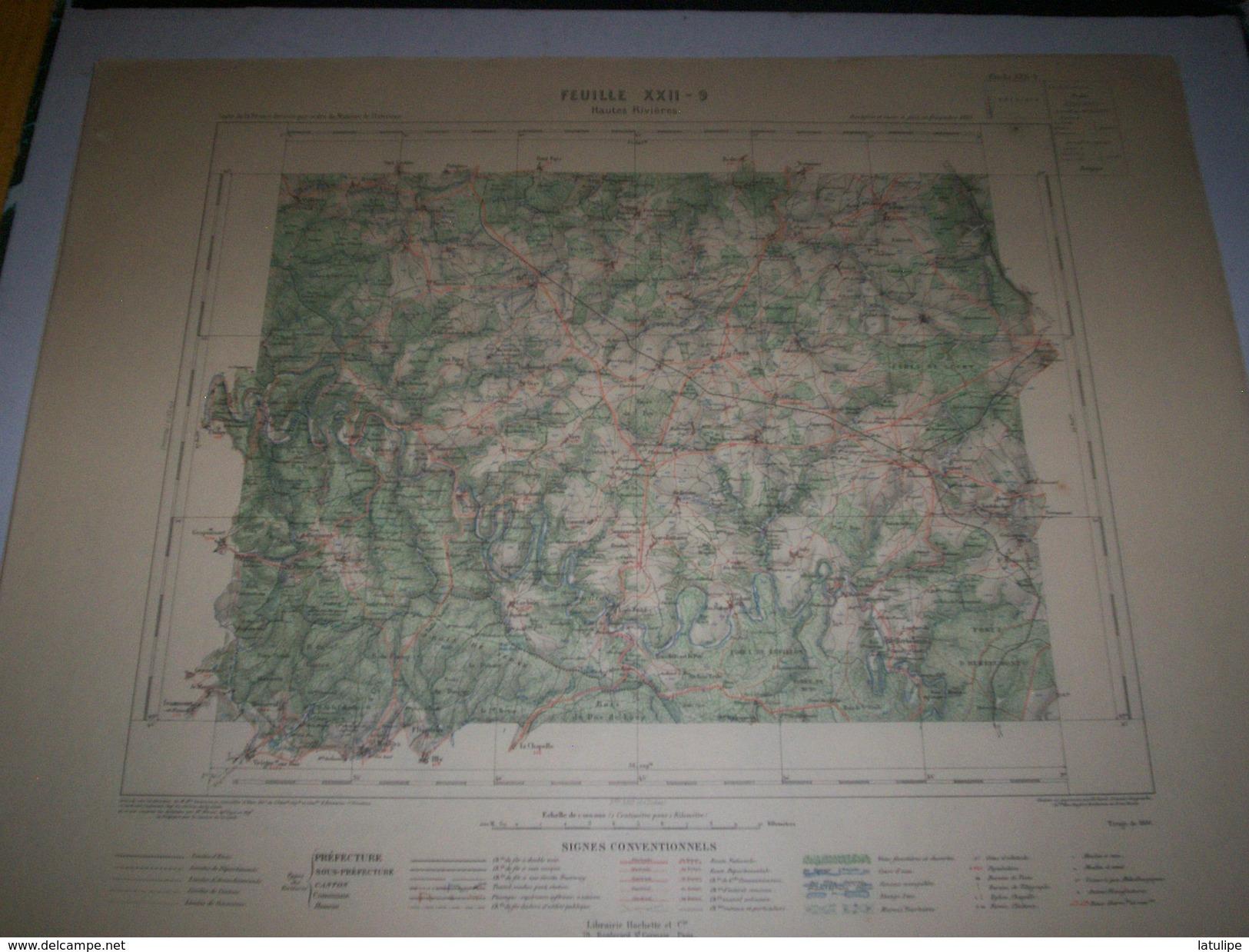 CARTE GEOGRAPHIQUE _ G - Format  45 X 57  De  ARDENNES  BELGIQUE_Feuille HAUTES-RIVIERES_XXII 9 ) En 1886 - Cartes Géographiques