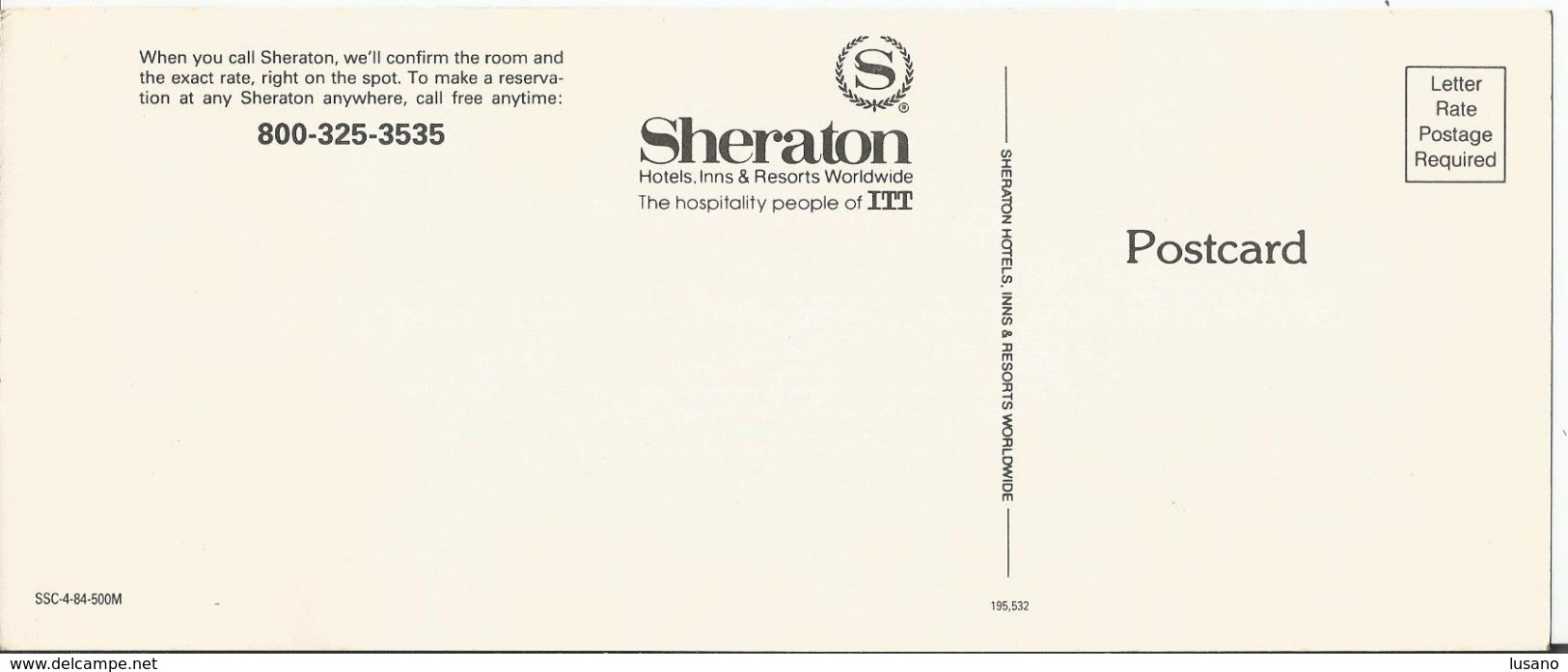 Carte Postale Publicitaire Pour La Chaîne D'hôtels Sheraton - Hotel Labels