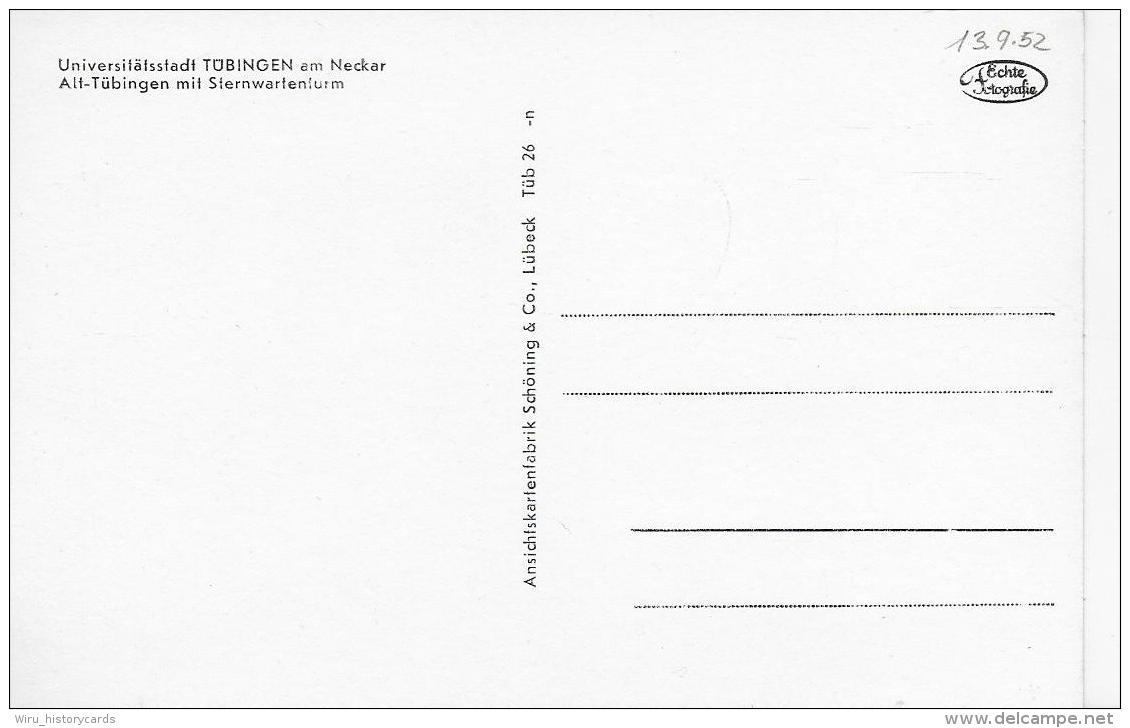 AK 0799  Tübingen - Alt-Tübingen Mit Sternwarteturm / Verlag Schöning & Co Um 1950 - Tübingen