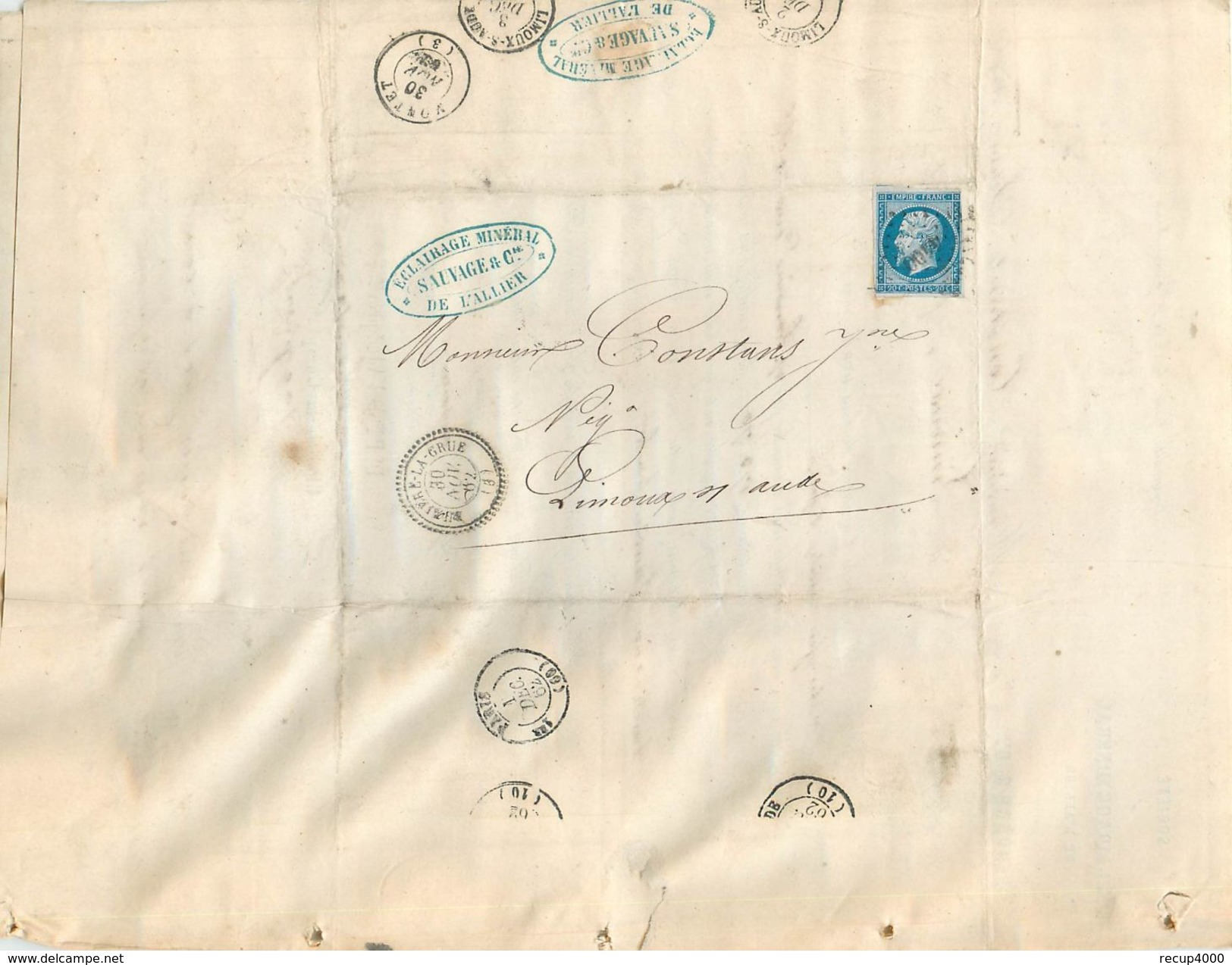 LETTRE 1862 Napo.20c Bleu N 14 Bruxière La Grue (mines)  Perlé à Limoux      2scans - Postmark Collection (Covers)