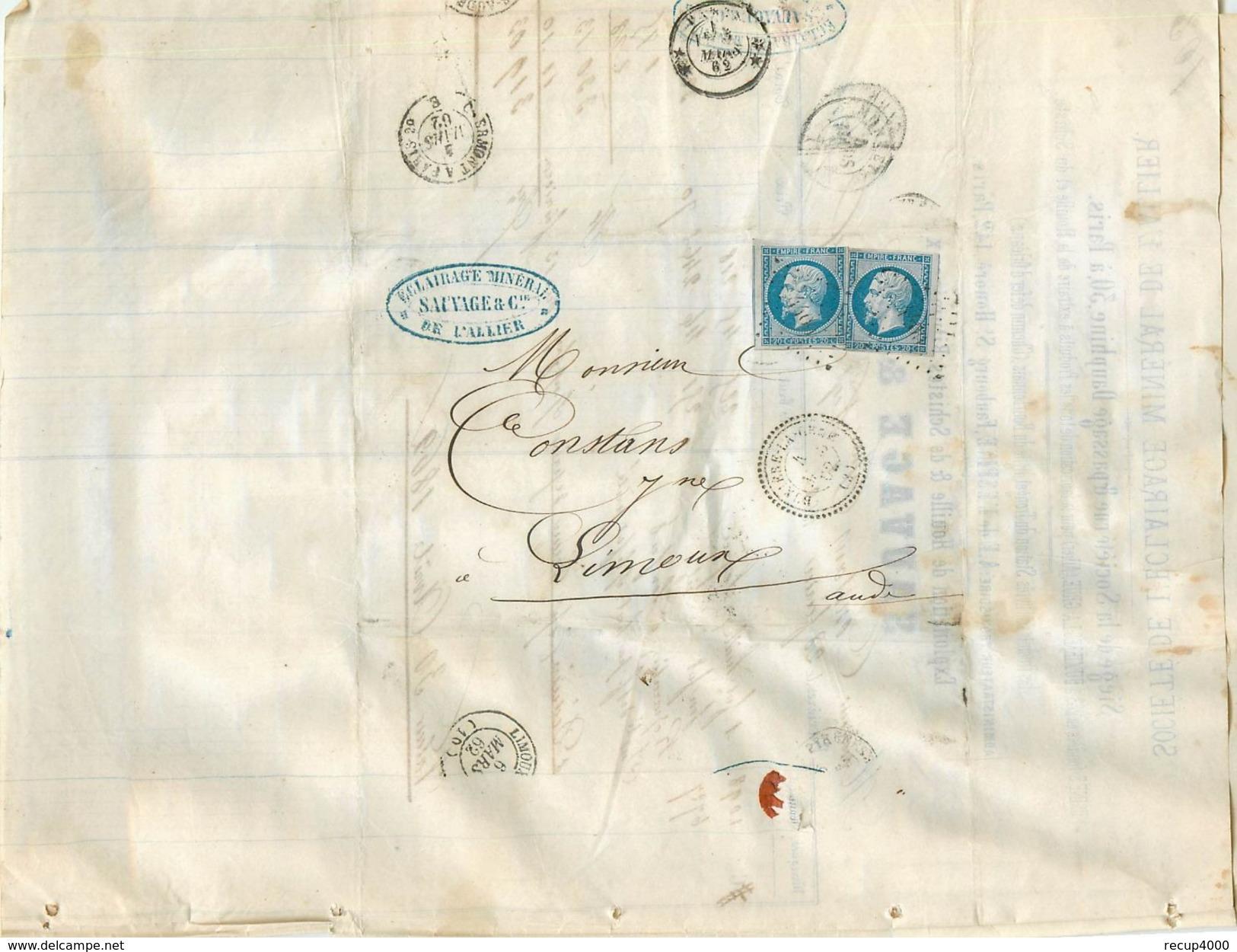 LETTRE 1862  2 Napo.20c Bleu N 14 Bruxière La Grue (mines)  Perlé à Limoux      2scans - Marcophilie (Lettres)