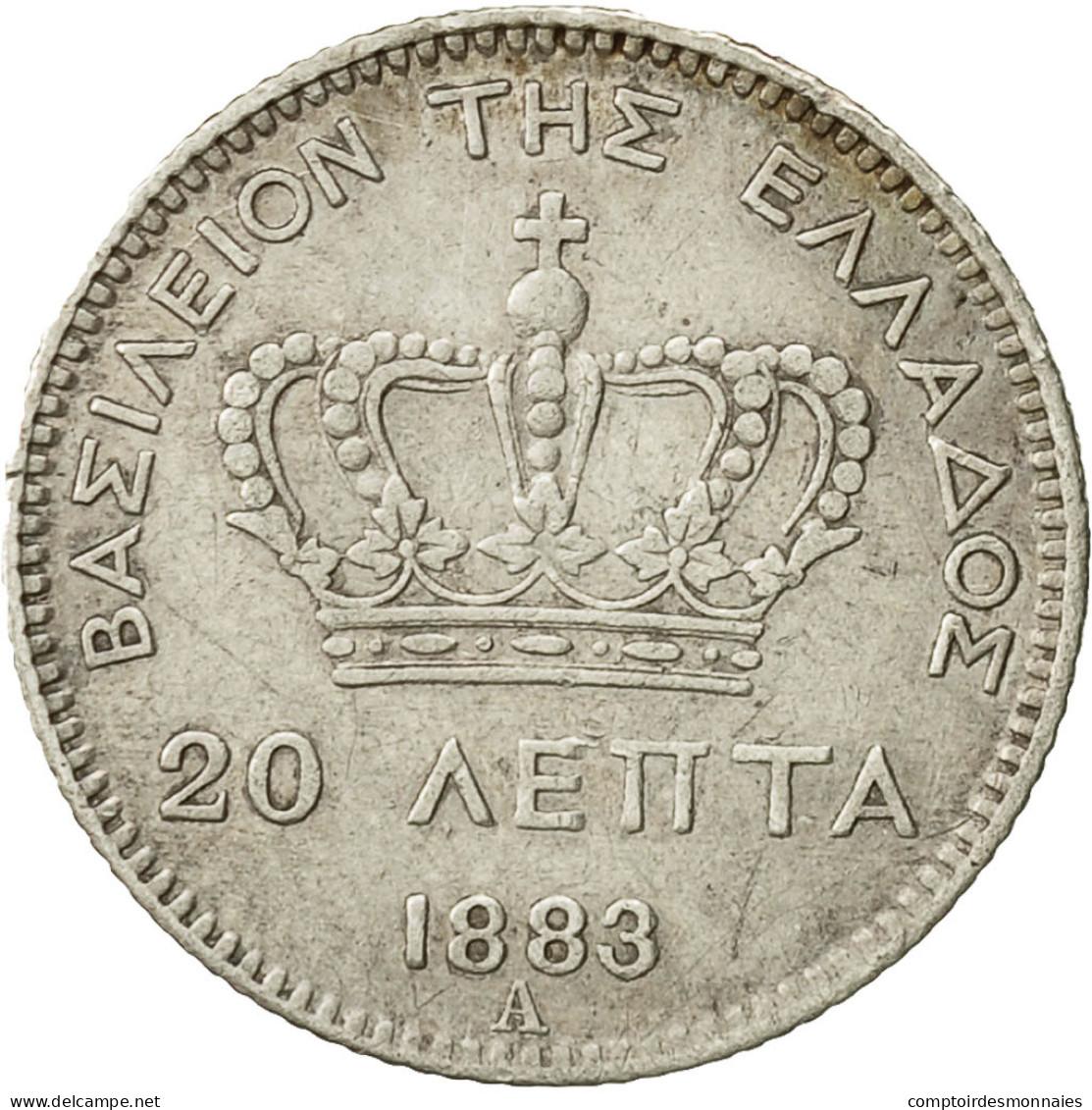 Grèce, George I, 20 Lepta, 1883, Paris, TTB+, Argent, KM:44 - Grèce