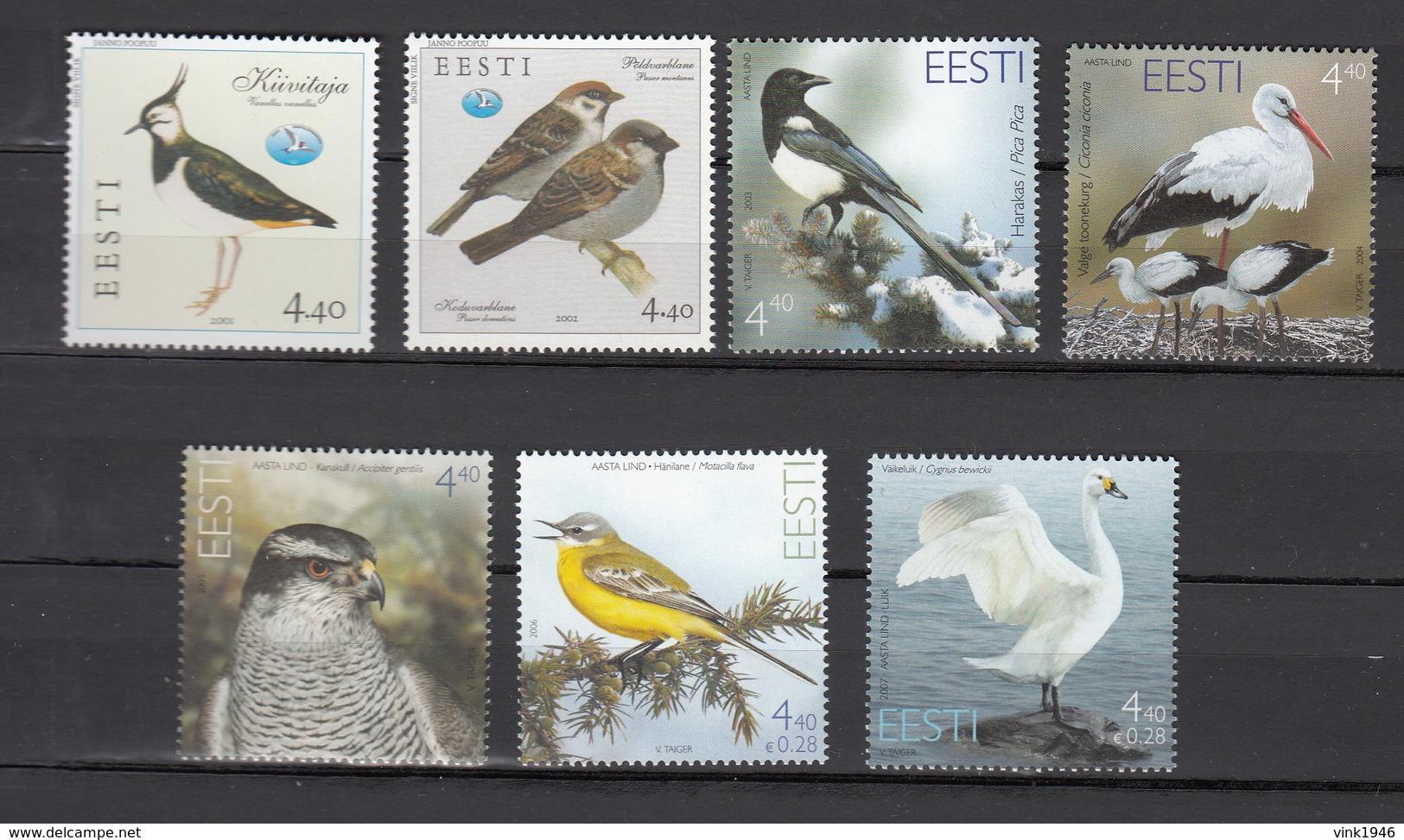 Estonia 2001,2,3,4,5,6,7,7V,birds,vogels,vögel,oiseaux,pajaros,uccelli,aves,MNH/Postfris,(A3470) - Oiseaux