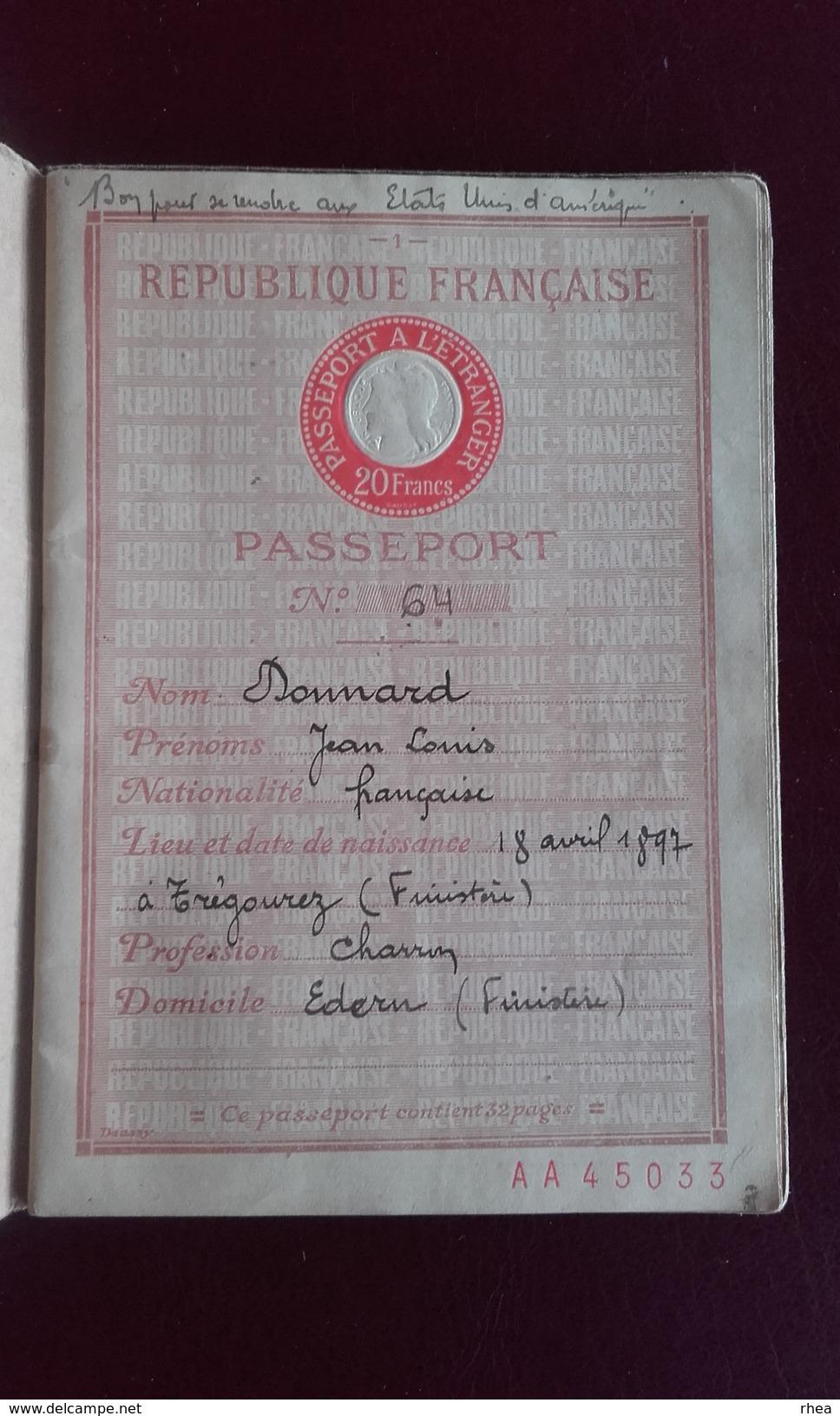 PASSEPORT - Papiers D'identité De Jean Louis Donnard Né à Trégourez Finistère - 1931 - Vieux Papiers
