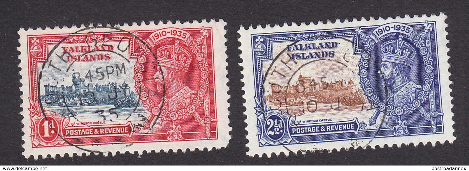Falkland Islands, Scott #77-78, Used, Silver Jubilee, Issued 1935 - Falkland Islands