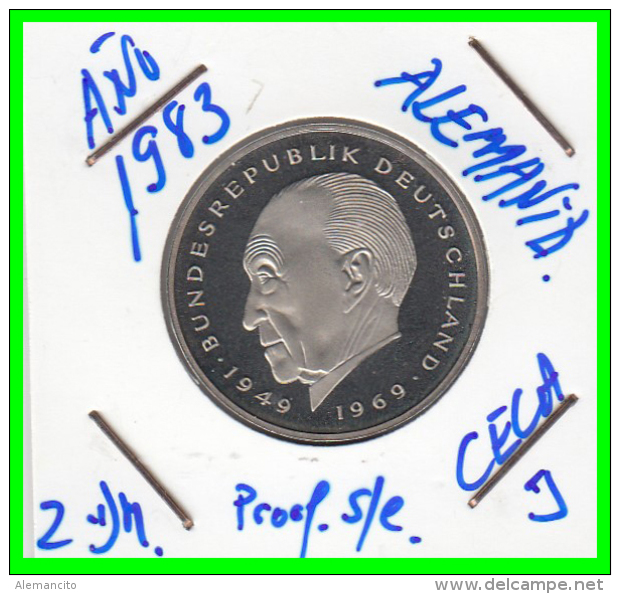 ALEMANIA - GERMANY  MONEDA DE 2.00 DM  AÑO 1983-J  KONRAD ADENAUER CALIDAD PROOF S/C - [ 7] 1949-… : RFA - Rep. Fed. Alemana