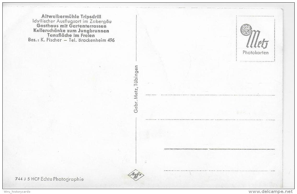 AK 0799  Gasthaus Zur Altweibermühle Tripsdrill Im Zabergäu Mit Michaelsberg  Um 1940-50 - Hotels & Gaststätten