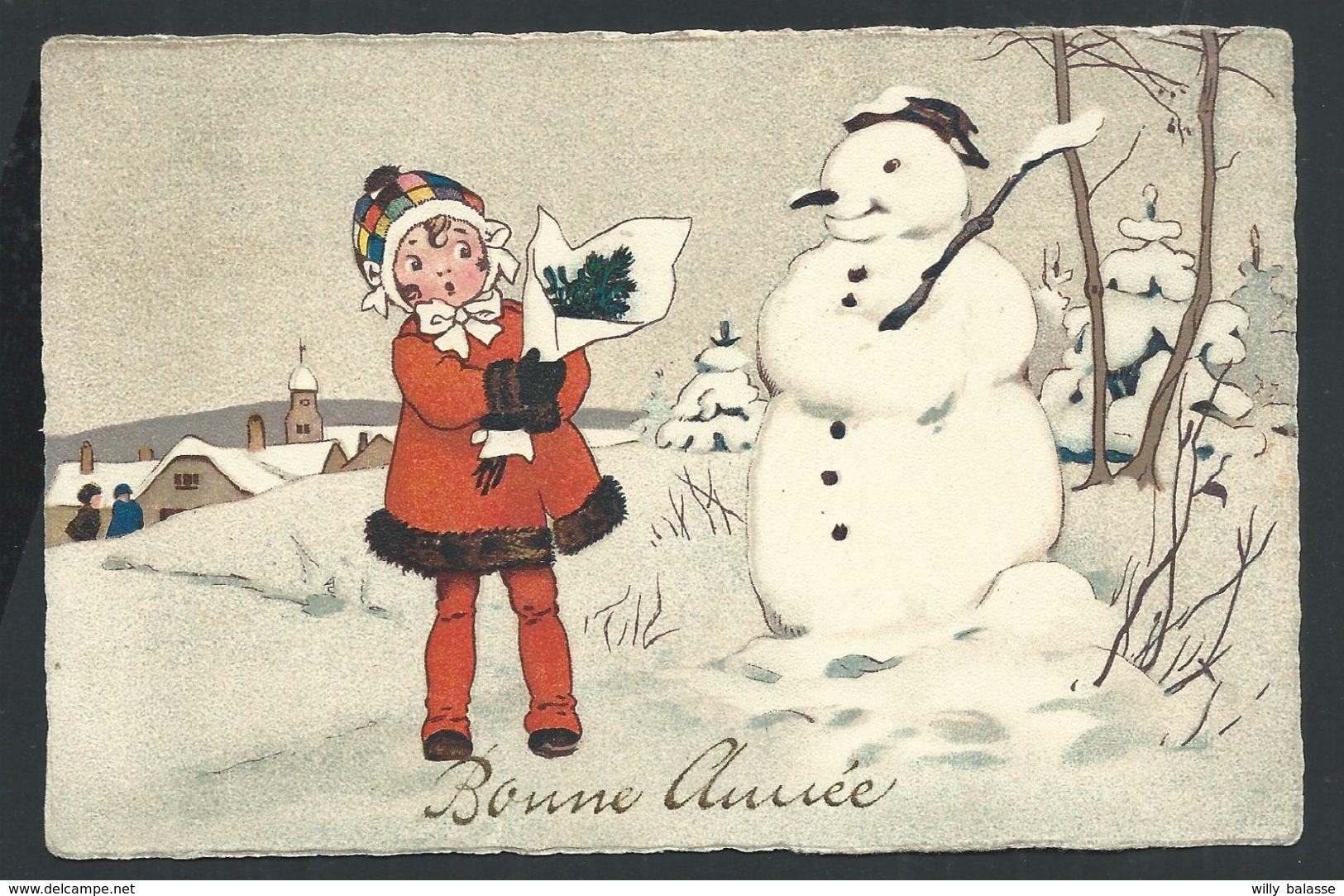 +++ CPA - Carte Fantaisie - Voeux - Bonne Année - Bonhomme De Neige - Snowman - Enfant - Fille Girl   // - Nouvel An