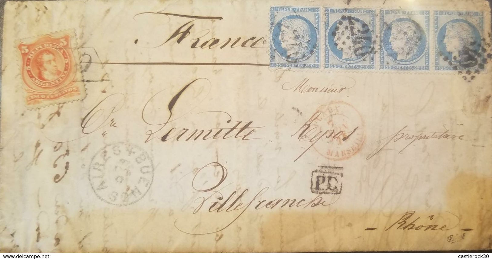 O) 1884 FRANCE, MARK PD, CERES 25 C. BLUE PERFORATE - BLOCK FOR 4, TRANSIT FOR MARSELLA, TO BUENOS AIRES WITH STAMP RECE - 1876-1898 Sage (Type II)