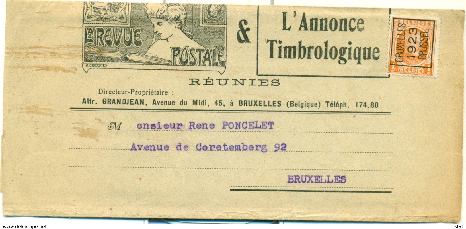 V72 - Bruxelles 1923 Brussel Op Document L'Annonce Timbrologique - Préoblitérés