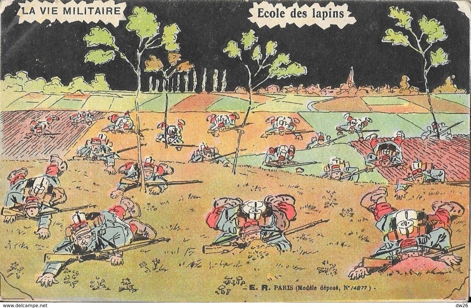 Carte Illustrée Halte-la! La Vie Militaire: Ecole Des Lapins - Edition E.R. Paris - Humour