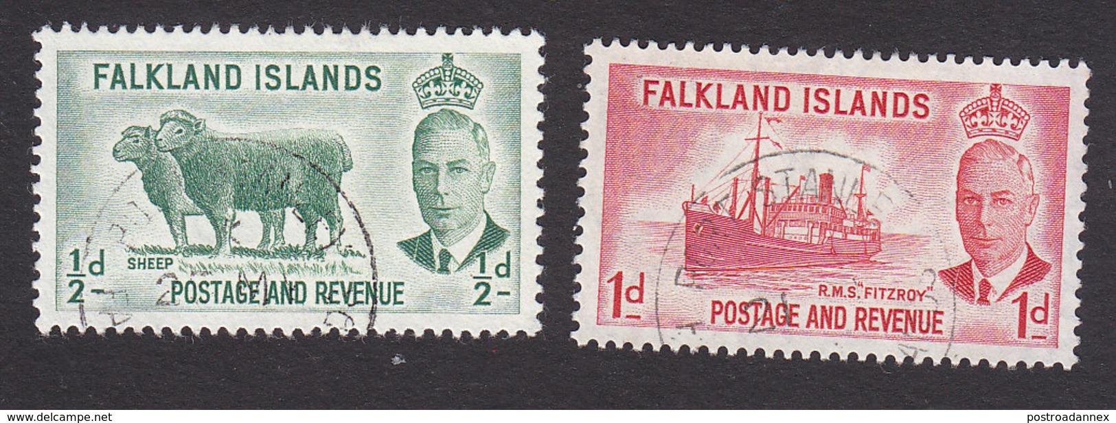 Falkland Islands, Scott #107-108, Used, George V And Industry Of Falkland Islands, Issued 1952 - Falkland Islands