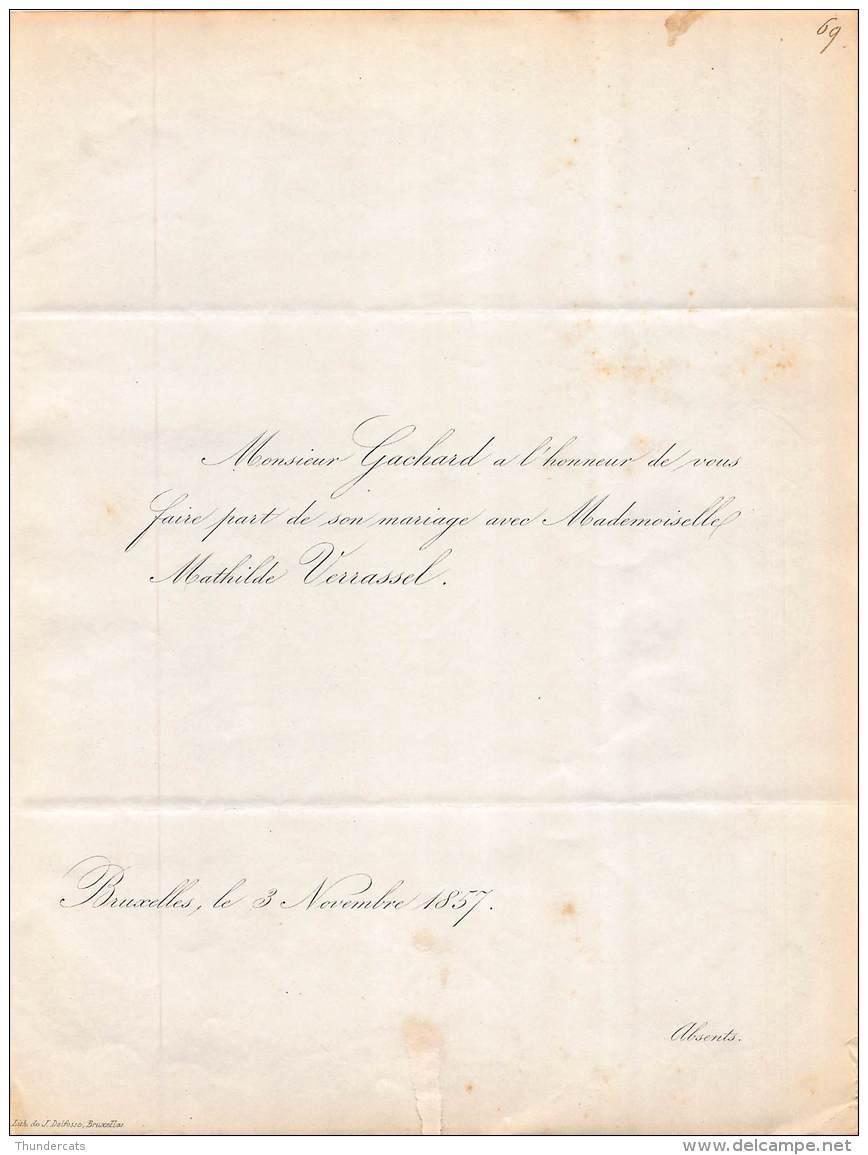 FAIRE PART MARIAGE  GACHARD MATHILDE VERRASSEL BRUXELLES 1857 - Mariage