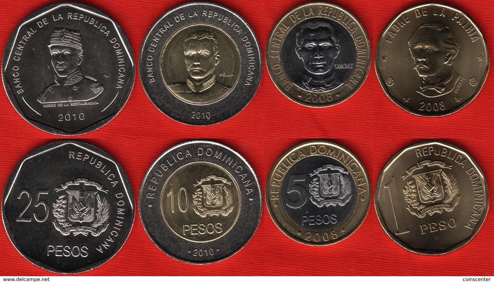 Dominican Republic Set Of 4 Coins: 1 - 25 Pesos 2008-2010 UNC - Dominicana