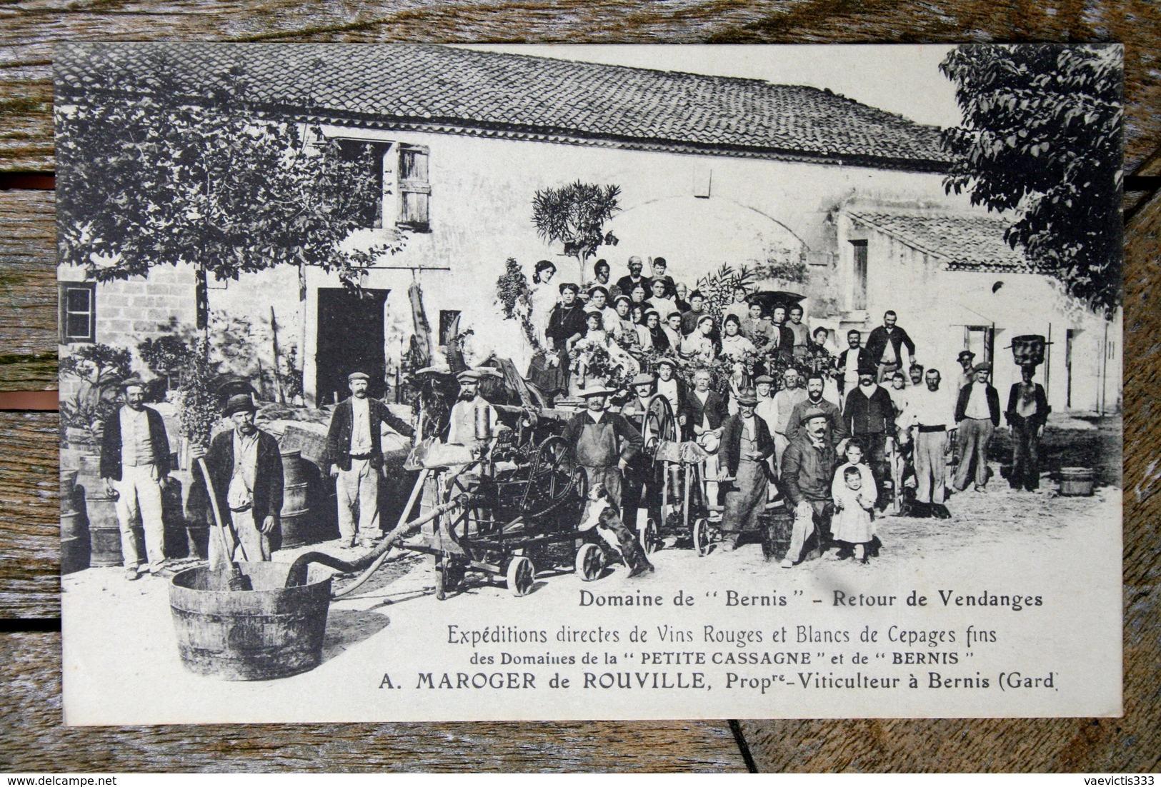 1750 CPA 30 BERNIS DOMAINES PETITE CASSAGNE ET BERNIS RETOUR DE VENDANGES  1910 M63 - Autres Communes
