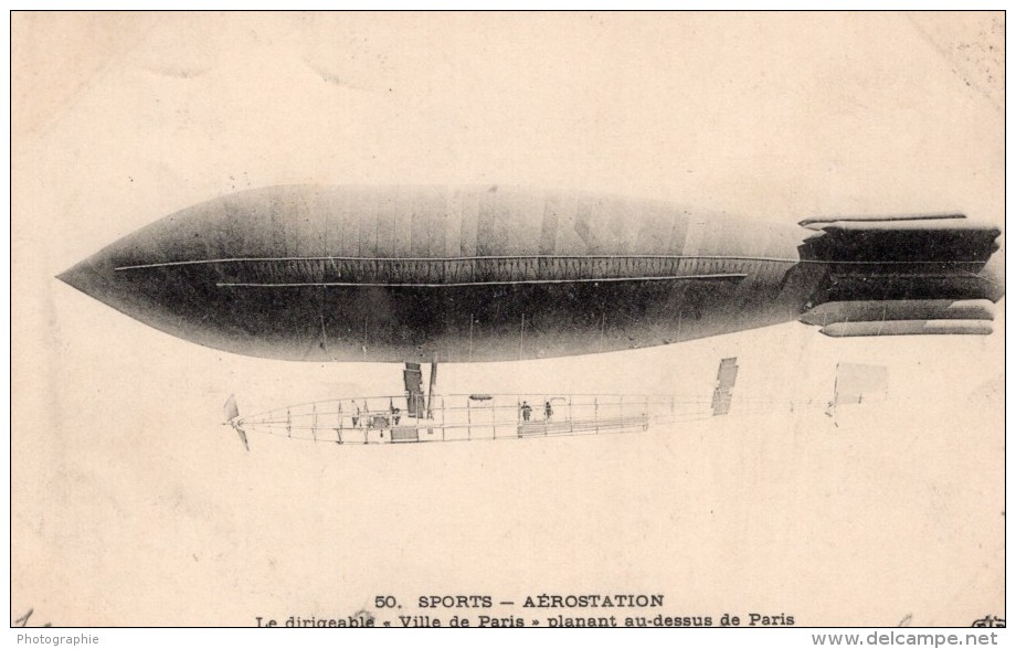 France Aviation Dirigeable Militaire Ville De Paris Surcouf Ancienne Carte Postale CPA 1906 - Airships