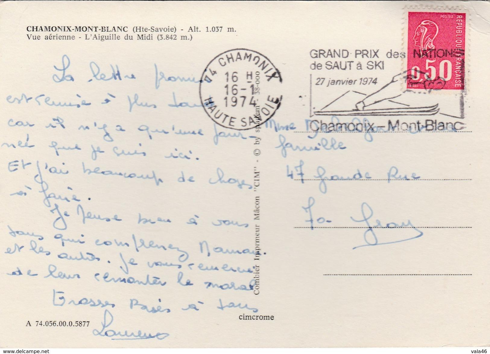 THEME  SKI    CHAMONIX GRAND PRIX DE SAUT A SKI  27 JANVIER  1974 - Marcophilie (Lettres)