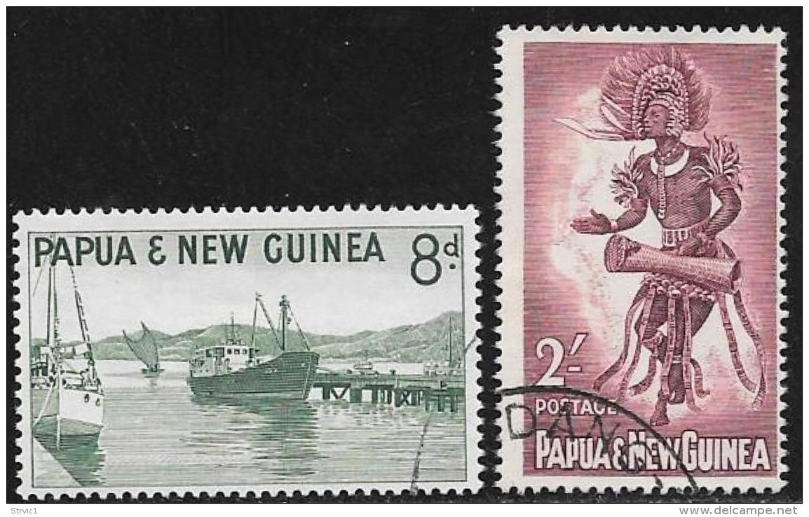 Papua New Guinea, Scott # 157.159 Used Harbor,Ships, Dancer, 1961, 1963 - Papua New Guinea