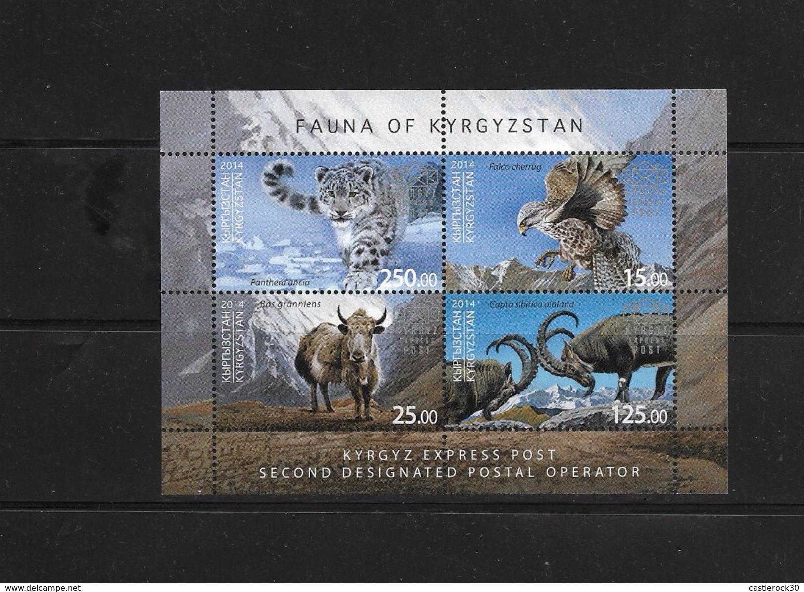 O) 2014 KYRGYZSTAN, FAUNA-PANTHERA UNCIA-FALCO CHERRUG-BOS GRUNNIENS-CAPRA SIBIRICA, MOUNTAINS-ALPS, SOUVENIR MNH - Kyrgyzstan