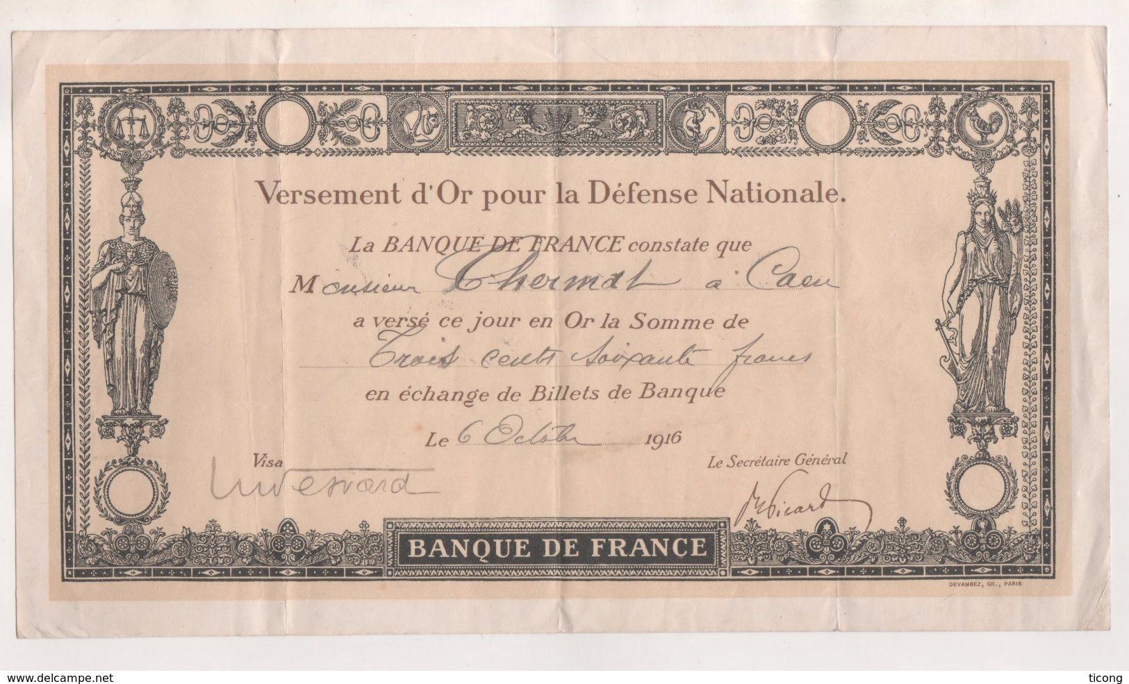VERSEMENT  D OR POUR LA DEFENSE NATIONALE GUERRE 1914 1918  - CAEN 1916 - VOIR LE SCANNER - 1914-18