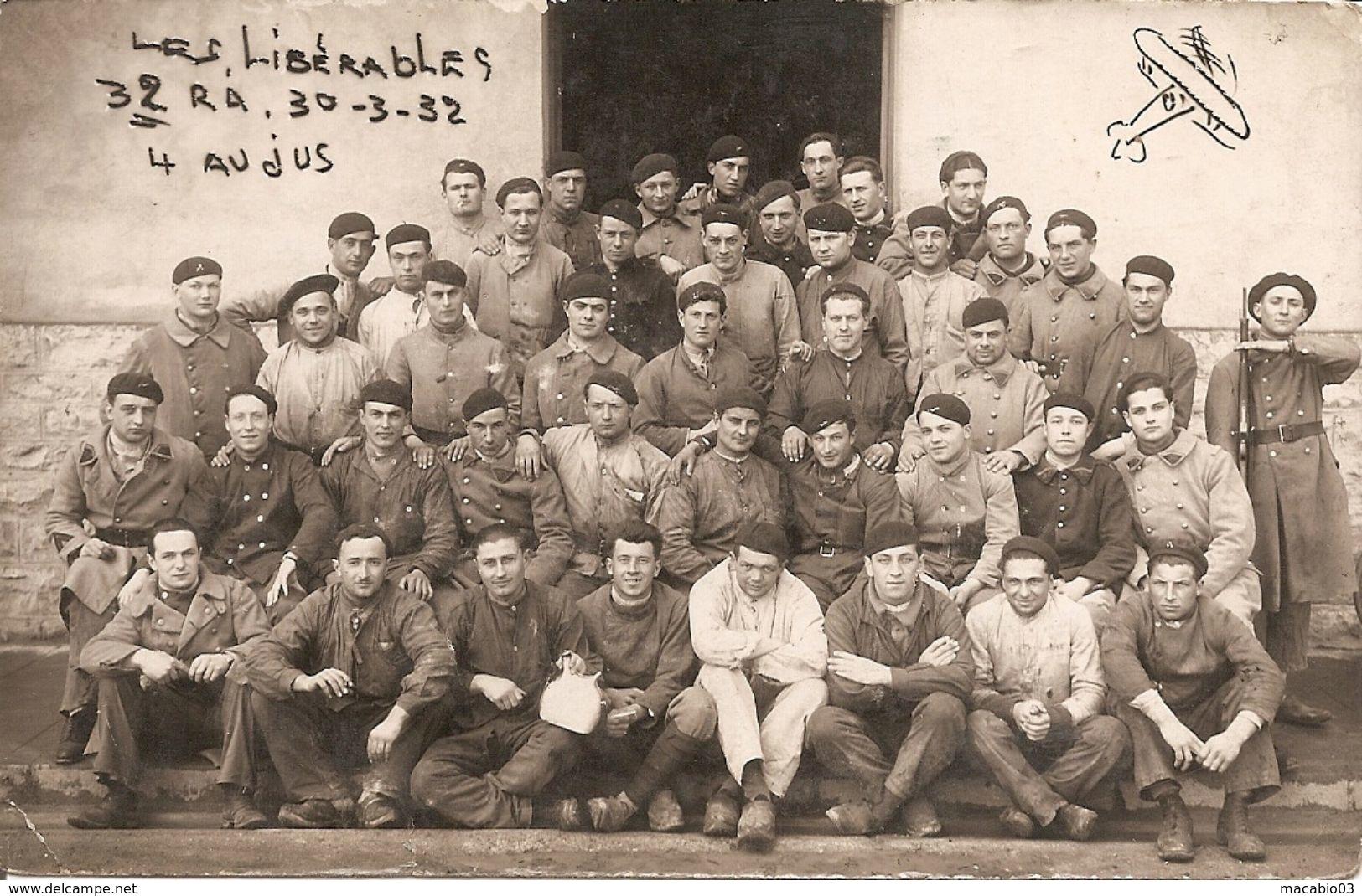 21 Côte D' Or : Dijon-Longvic Militaria :les Libérables De La 32eme R A ( 4 Au Jus) Carte Photo Réf 3687 - Dijon