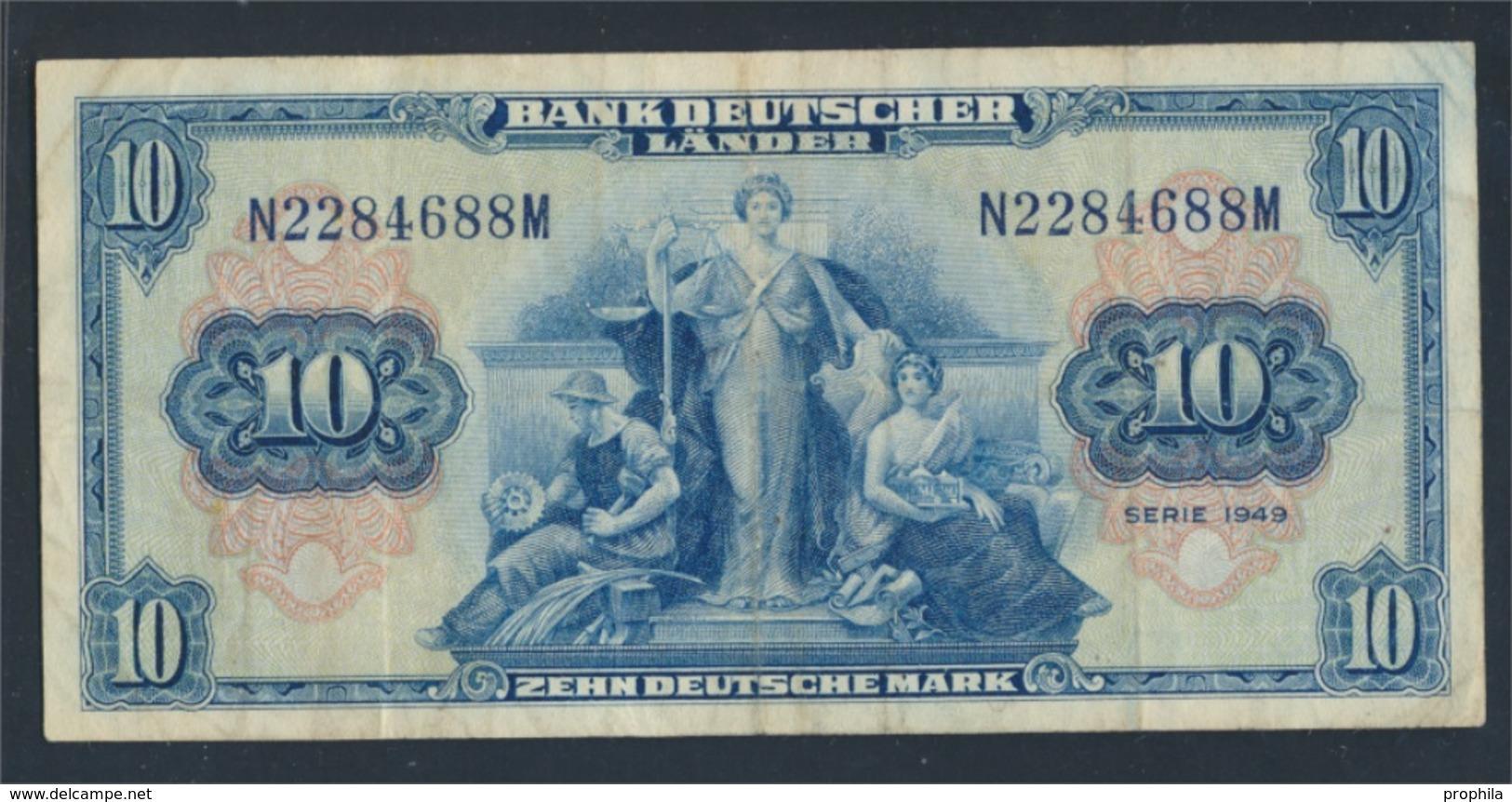 BRD Rosenbg: 258, Kenn-Bst.: N Gebraucht (III) 1949 10 Deutsche Mark (8590300 - [ 7] 1949-… : RFA - Rep. Fed. Tedesca