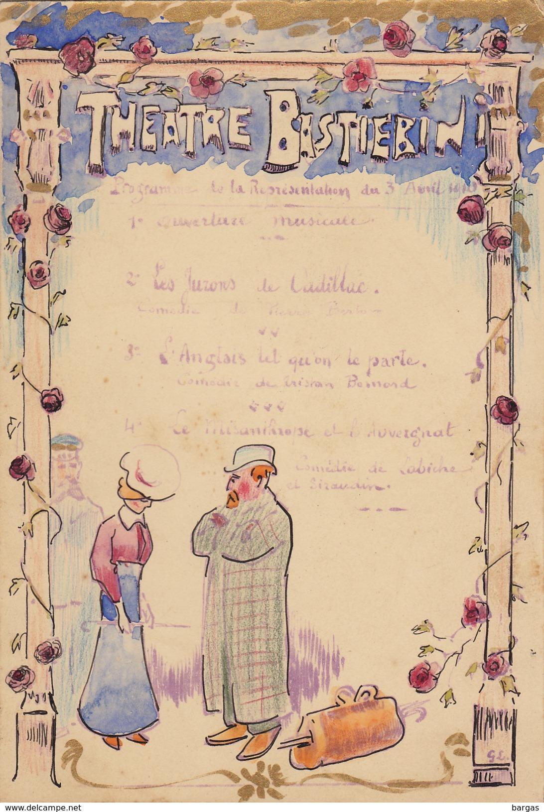 Ancien Programme Sur Carton Du Théâtre Bastierini Fait Main - Programmes