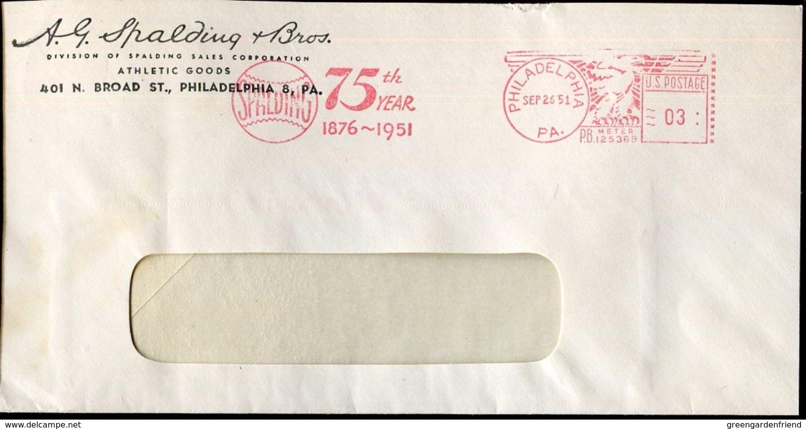 28563g  U.s.a., Red Meter/freistempel/ema/philadelphia 1951 75th Year Spalding, Tennis Balls, Circuled Cover - Tennis