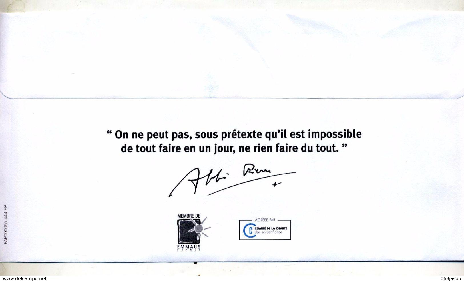 Lettre Flamme Chiffree Sur Abbe Pierre Entete Concordante - Poststempel (Briefe)
