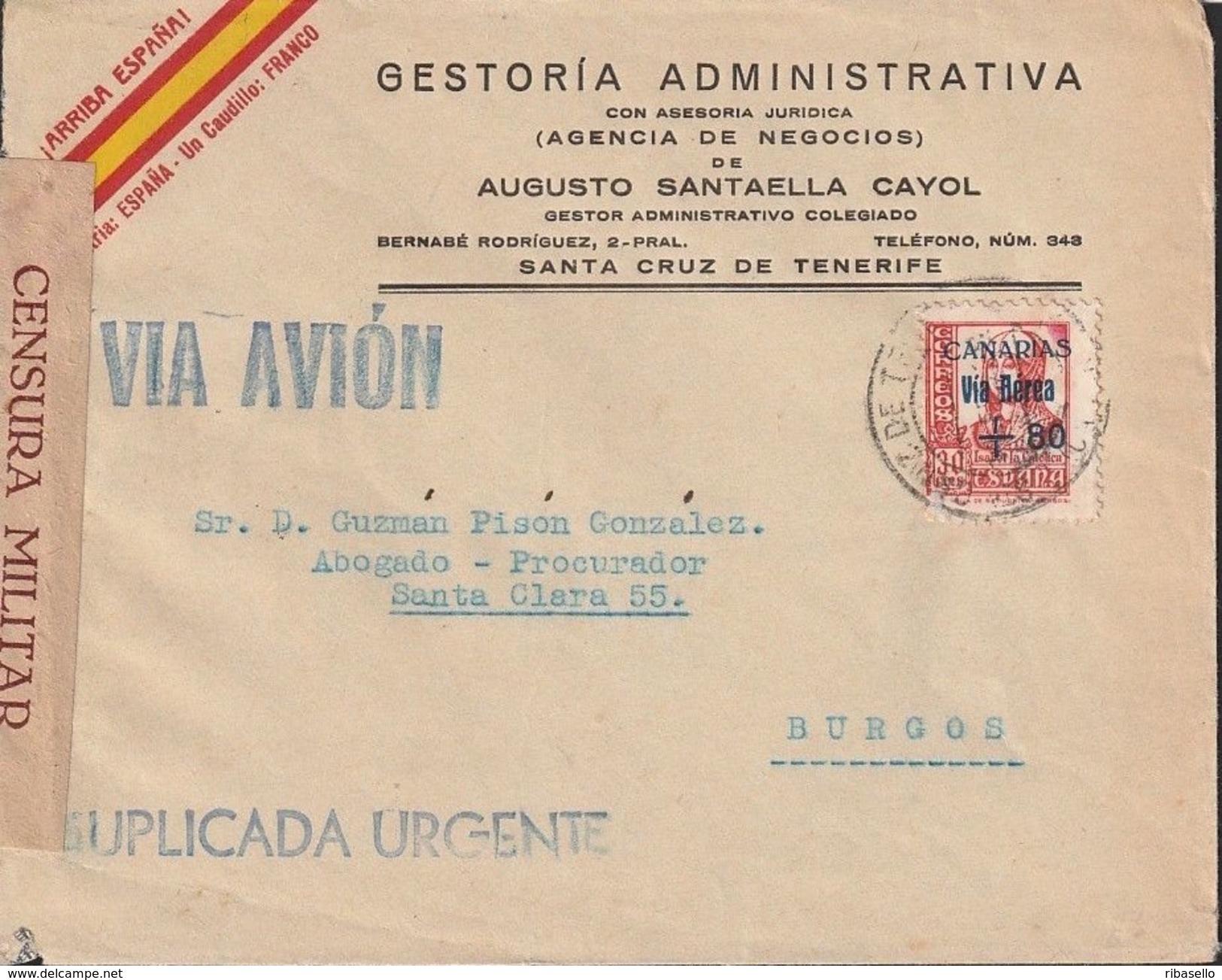 España 1938. Canarias. Carta De Tenerife A Burgos. Suplicada Urgente. Censura. - Marcas De Censura Nacional