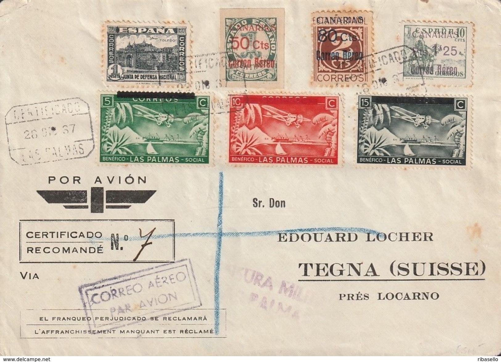 España 1937. Canarias. Correo Aereo Certificado  De Las Palmas A Tegna. Censura. - Marcas De Censura Nacional