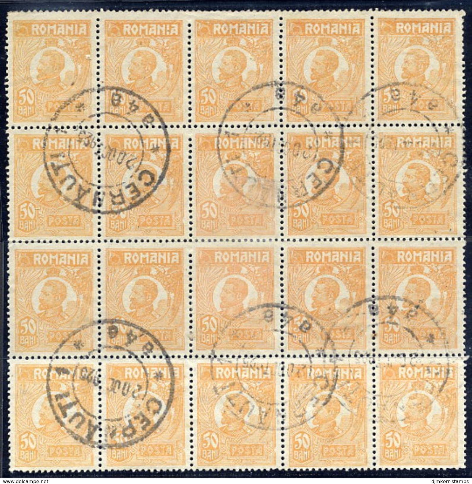 ROMANIA 1922 King Ferdinand 50 B. Type I In Used Block Of 20.  Michel 270 I - 1918-1948 Ferdinand, Charles II & Michael