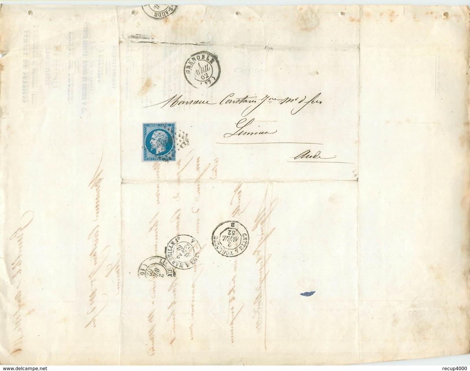LETTRE  Napoléon 20c Bleu N14 De Grenoble  à Limoux 1862 2 Scans - Marcophilie (Lettres)