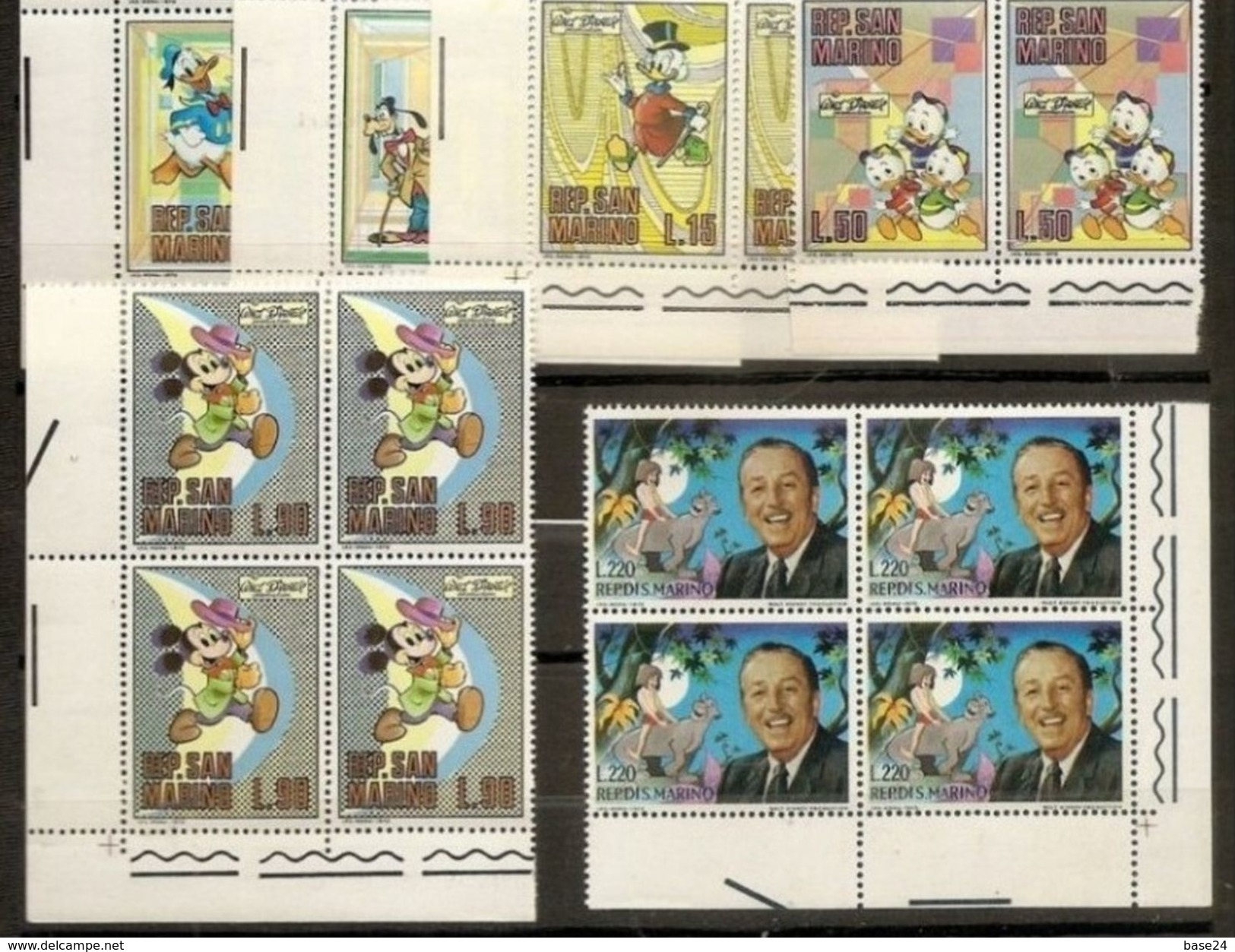 1970 San Marino Saint Marin WALT DISNEY 4 Serie Di 10v. In Quartina MNH** Bl.4 - Disney