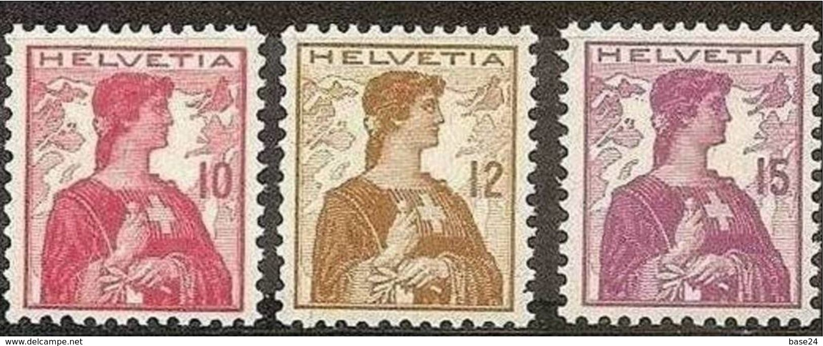 1909 Svizzera Switzerland HELVETIA BUSTO Serie Di 3v. (131/33), MNH** - Nuovi