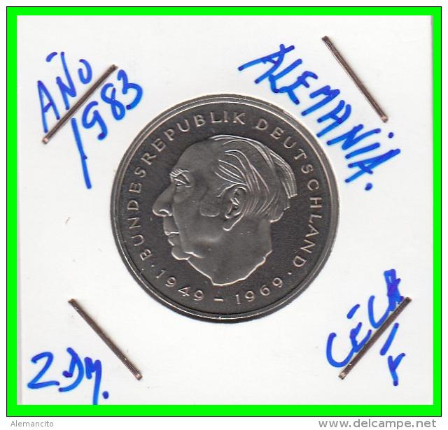 ALEMANIA - GERMANY -MONEDA DE 2.00 DM. THEODOR HEUSS - AÑO 1983-F  CALIDAD PROOF S/C - [ 7] 1949-… : RFA - Rep. Fed. Alemana