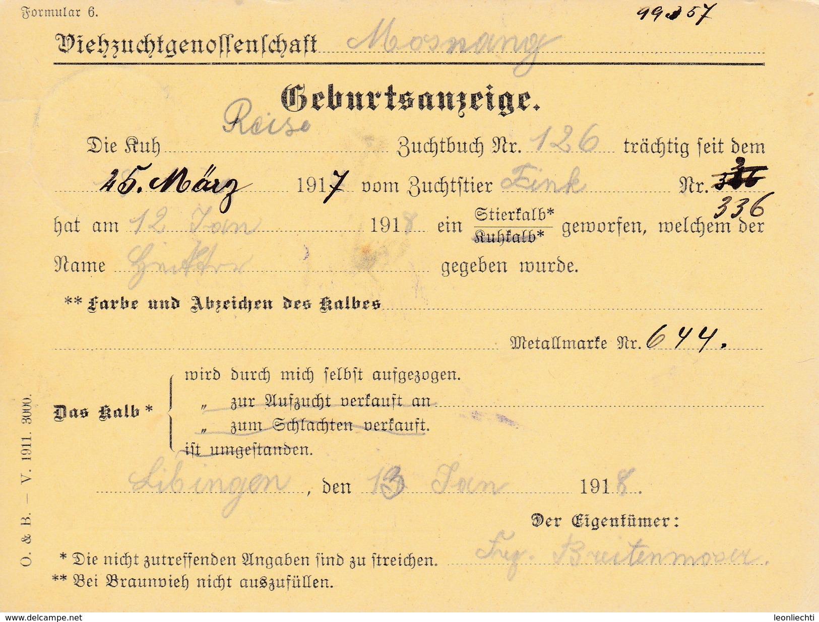 1916 Geburtsanzeige Viehzuchtgenossenschaft Stpl: DREIEN ST. Gallen. Mi:138xII Tellknabe - Suisse