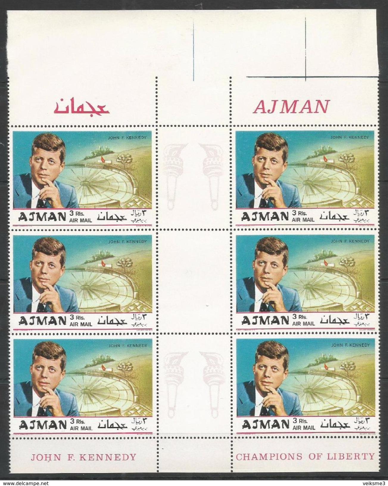 AJMAN - MNH - Famous People - Kennedy - Gutter Parrirs - Kennedy (John F.)
