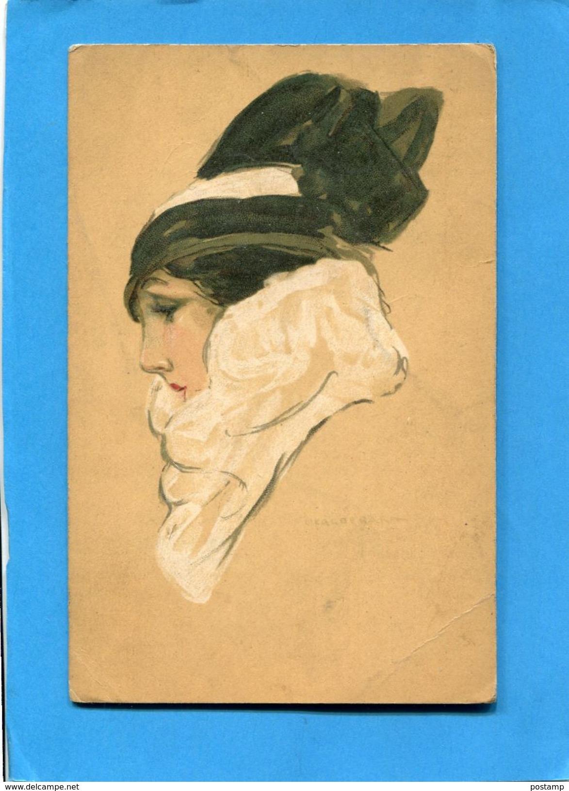 CALDERARA-portrait De Femme-élégante -ITALIE-a Voyagé En 1917-édition Artitisca - Illustrateurs & Photographes