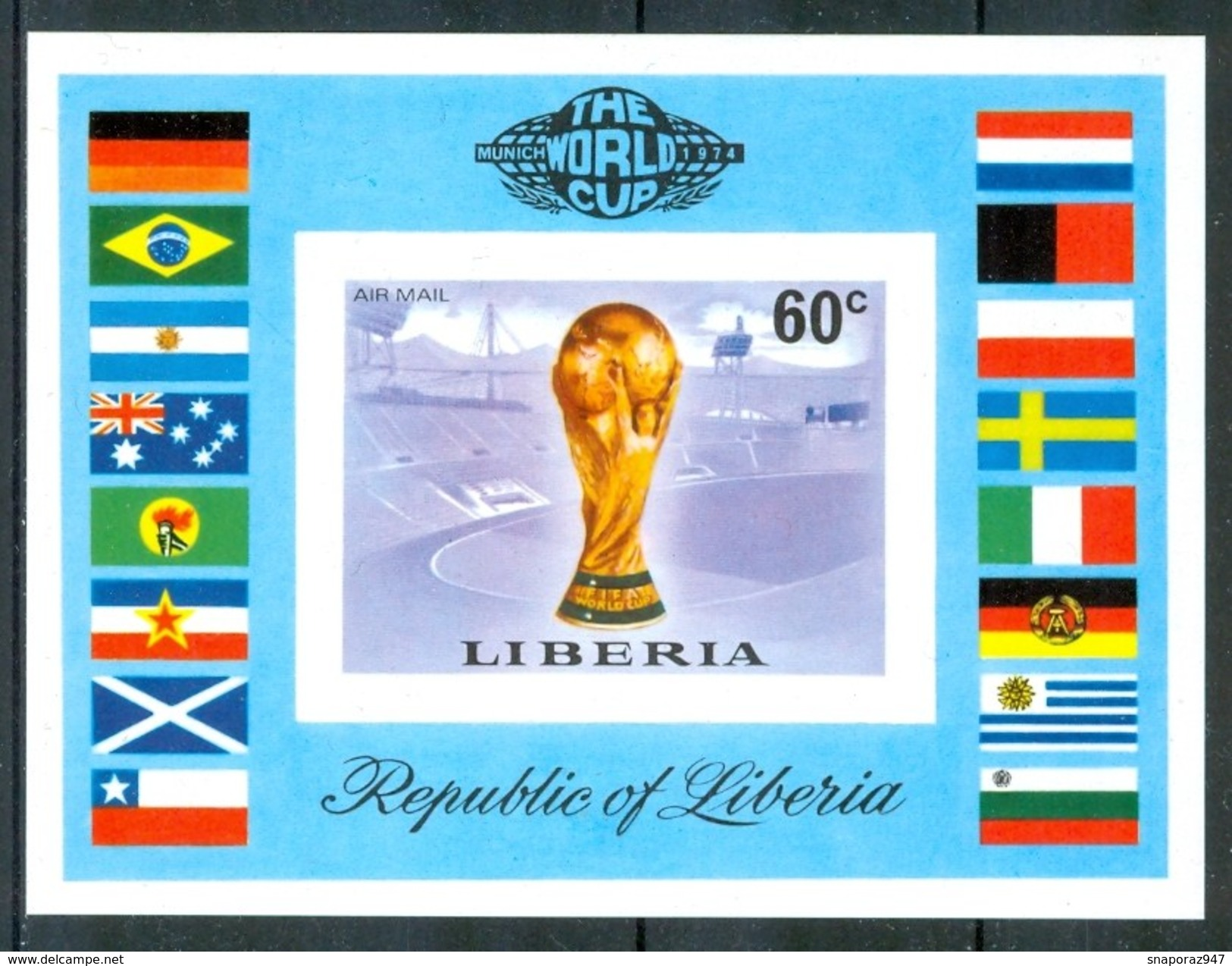 """1974 Liberia """"Munich 74"""" Coppa Del Mondo World Cup Coupe Du Monde Calcio Football  MNH** Zz30 - Coppa Del Mondo"""