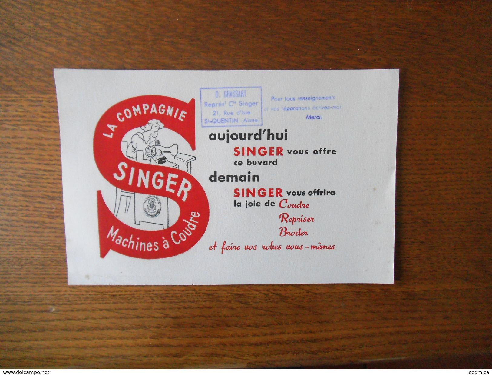 SINGER MACHINES A COUDRE O. BRASSART REPRESENTANT Cie SINGER 21 RUE D'ISLE SAINT-QUENTIN AISNE - Buvards, Protège-cahiers Illustrés