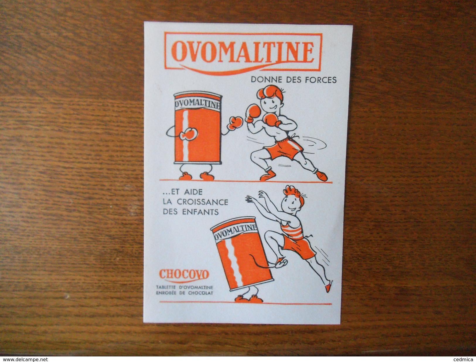 OVOMALTINE DONNE DES FORCES ET AIDE A LA CROISSANCE DES ENFANTS CHOCOVO TABLETTE D'OVOMALTINE ENROBEE DE CHOCOLAT - Buvards, Protège-cahiers Illustrés