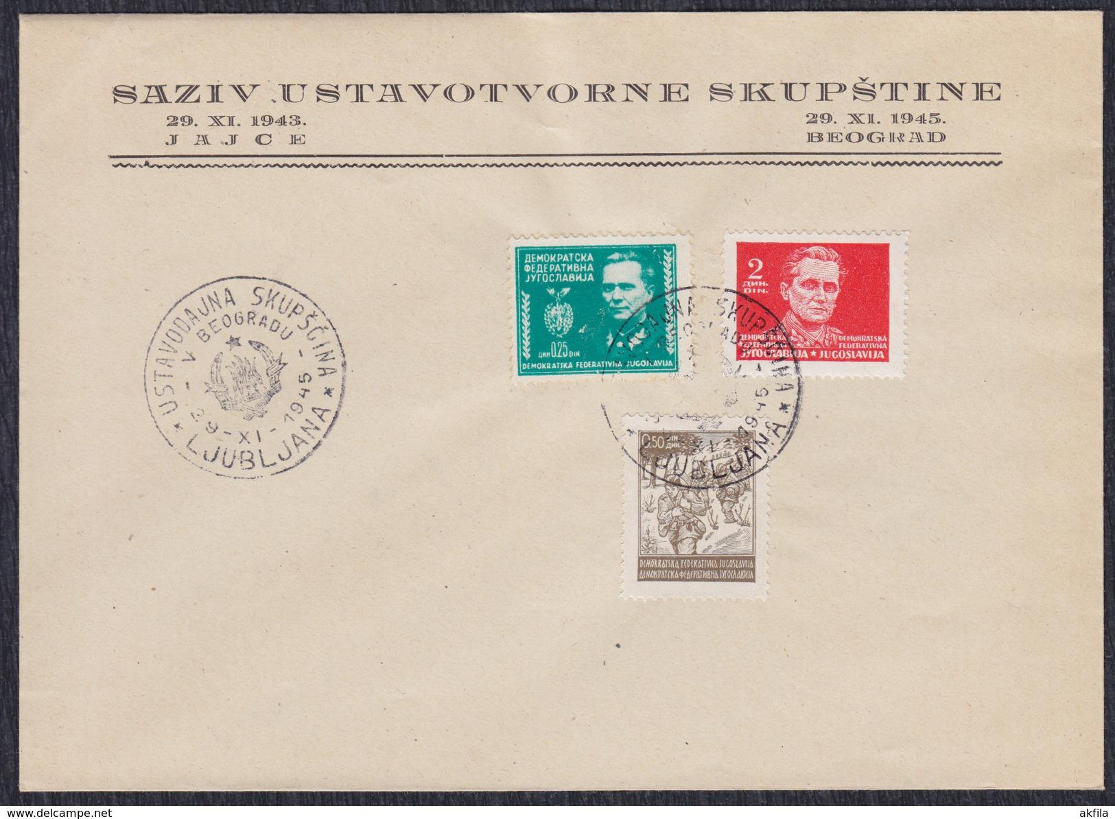 Yugoslavia 1945 Constitutive Assembly, Cover - 1945-1992 Socialist Federal Republic Of Yugoslavia