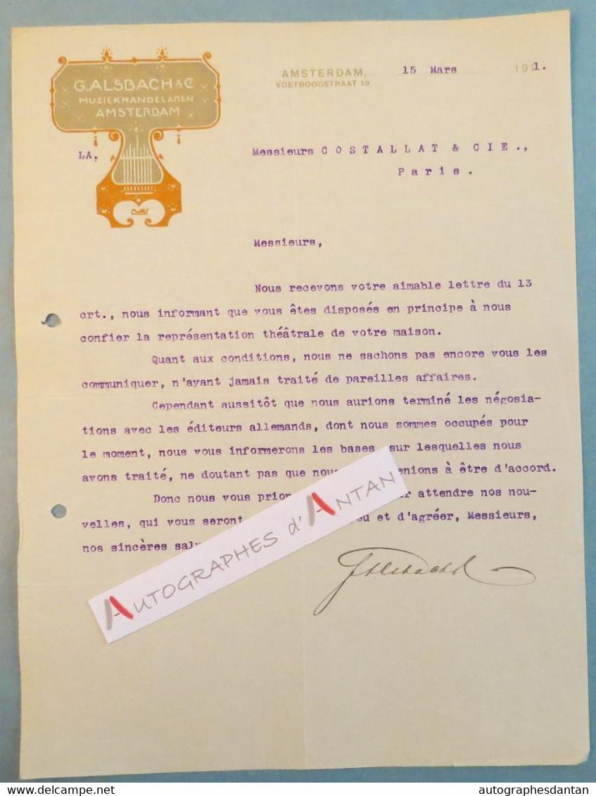 Lettre 1911 G. ALSBACH - AMSTERDAM - à Mrs Costallat - Pays Bas - Holland - Netherlands - Signature Autographe - Autographes