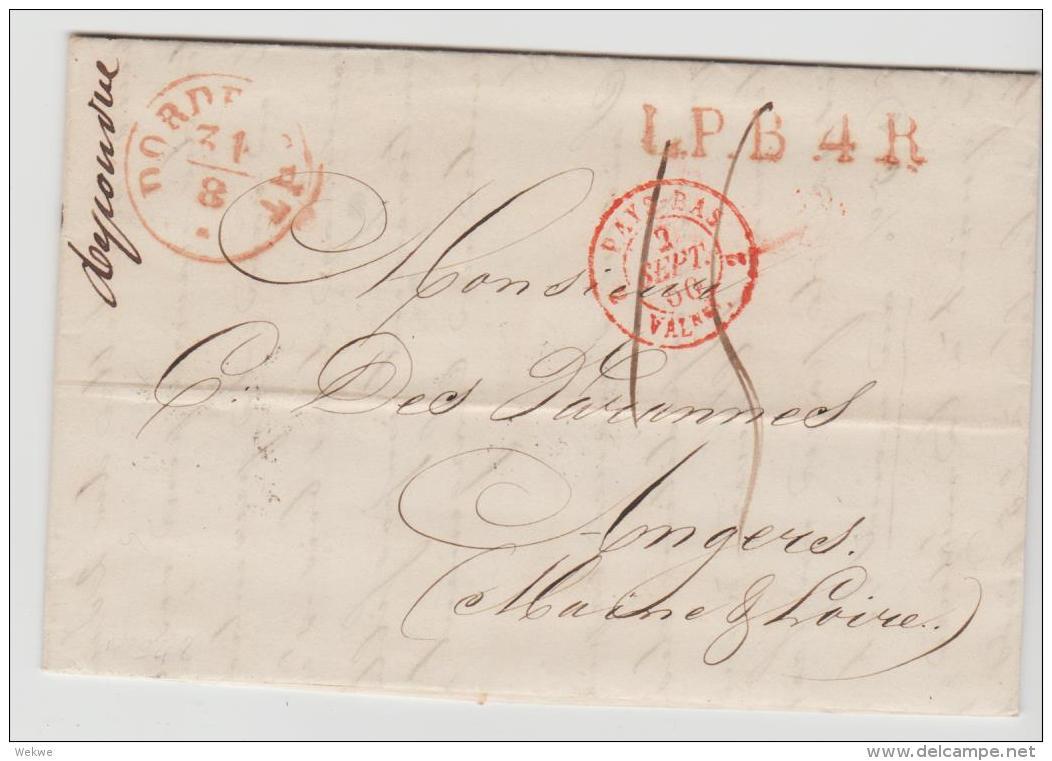 NLC041 /- NIEDERLANDE -  Derdrecht 1850, L.P.B.4 R Nach Frankreich - ...-1852 Vorläufer