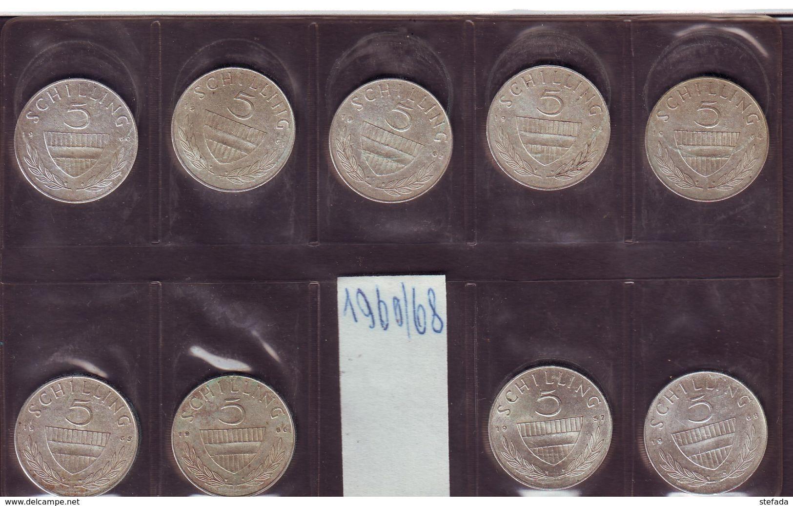AUSTRIA AUTRISCHE LOTTO  5 SCELLINI ARGENTO  Dal 1960 Al 1968 Lotto Di Nove Monete - Austria